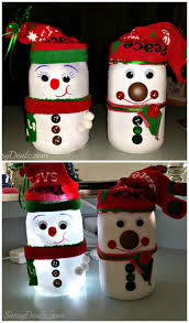 diy snowman mason jar craft for kids light decoration christmas