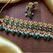 green necklace set images Kalaaplanet pearls kundan pearl drop choker necklace set green jpg