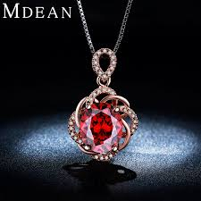 red stone gold necklace images Mdean rose gold color wedding jewelry sets red stone aaa zircon jpg