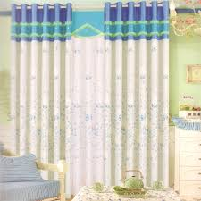 white cotton fabric baby curtains blue stars