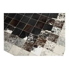 Patchwork Cowhide Patchwork Cowhide Mosaik Black Brown White Leather Carpet Rug