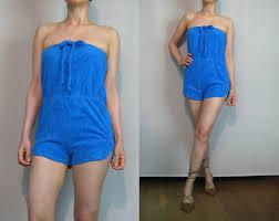 terry cloth jumpsuit vintage 70s blueberry blue terry cloth romper 70s blue cotton