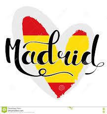 madrid lettering hand written madrid the flag of spain in hear