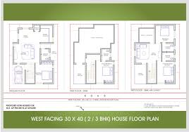 30 x 40 west facing house 1300 sqft approx 2 bhk view elevation