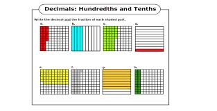 tenths and hundredths worksheets activity shelter