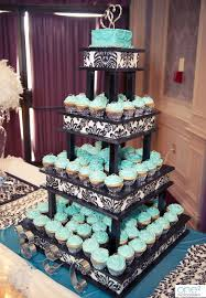 cupcake displays turquoise cupcake stand with black and white details
