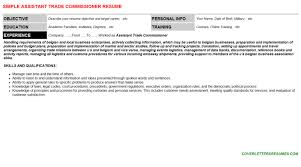 assistant trade commissioner cover letter u0026 resume