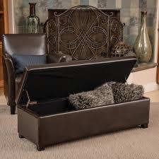 storage ottoman bench brown lucinda brown bonded leather storage ottoman bench by christopher