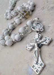 white rosary handmade white rosary necklace in howlite gemstone and