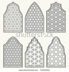 islamic classical windows doors arabic ornament stock vector