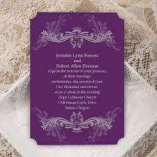 Personalized Wedding Invitations Cheap Purple Damask Ticket Shape Custom Wedding Invitation Cards