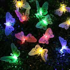 solar string lights 12 led multi color butterfly solar string lights fiber optic