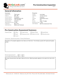 Field Inspection Report Template field services pre construction onsite inspection sle report
