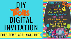free rainbow birthday invitations free trolls digital invitation how to make with picmonkey