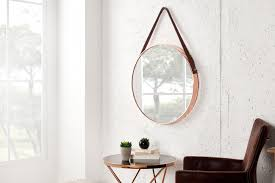 spiegel design großer runder design spiegel portrait 45 cm kupfer braun mit