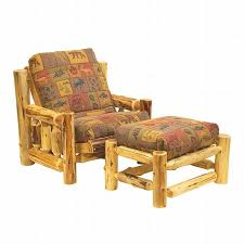 Futon Armchair Rustic Cedar Log Futon Chair W Ottoman Reclaimed Furniture