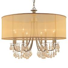 crystorama crystorama hampton 8 light drum shade brass chandelier