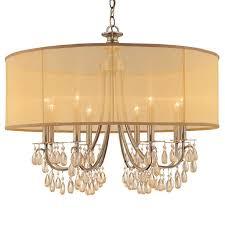 crystorama crystorama hampton 8 light drum shade brass chandelier