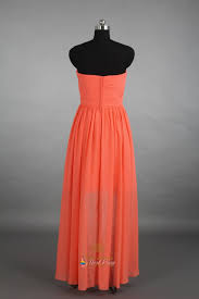 coral high low bridesmaid dress strapless coral high low chiffon