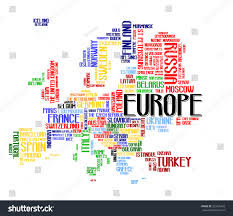 europe continent city map tag cloud stock vector 220426459