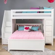 jackpot staircase twin full loft bed storage white kids n cribs