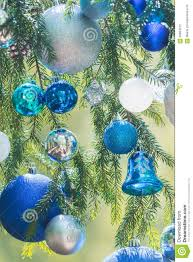 christmas shades of blue color gamma baubles stock photo image