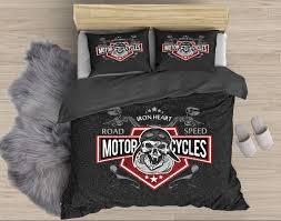 Harley Davidson Comforter Set Queen Iron Heart Motorcycle Bedding Biker Bedding Devilsrider