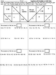 solving equations with variables on both sides coloring activity