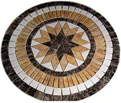 tile floor medallion marble mosaic multi 8 points design 24