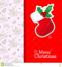 merry christmas or happy new year card template with red sock and