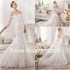 high quality 3 4 sleeves white mermaid open back lace bridal dress