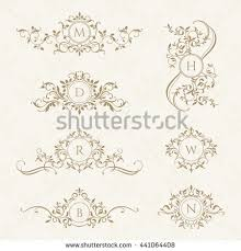classic design monograms collection cards invitations graphic design stock vector