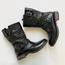 ugg australia leather buckle mid ugg australia black conor studded leather shearling lining mid calf