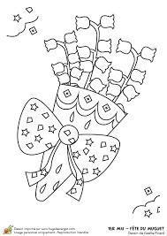 Dessin à colorier de brins de muguet pour le 1er mai