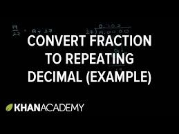 converting a fraction to a repeating decimal video khan academy