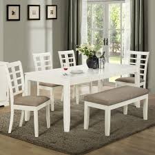 rectangle white stained oak wood dining table with bench using