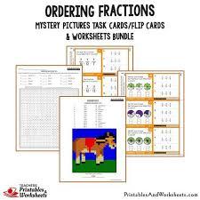 ordering fractions task cards and worksheets bundle printables