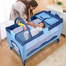 Bed Crib New Blue Baby Crib Playpen Playard Pack Travel Infant Bassinet Bed