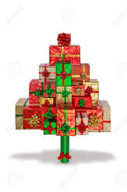 a christmas tree made from gift wrapped presents isolated on
