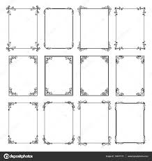 decorative vintage frames vector black borders isolated on white