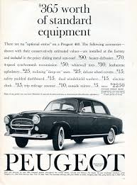 peugeot price list peugeot of america ads 1958 u201361 fonts in use