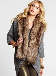 sweater with faux fur collar three quarter sleeve faux fur cocoon cardigan on the hunt