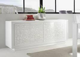 Buffet bahut design laqué blanc mat sérigraphies fleurs Monica