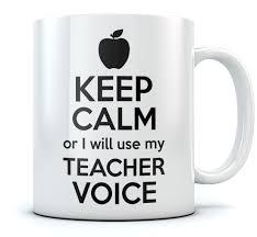 keep calm or i will use my teacher voice funny teacher coffee mug