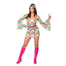 ladies retro go go fancy dress halloween costume