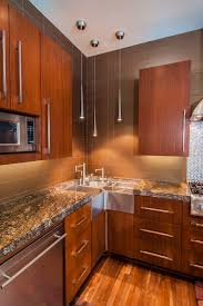 corner utility sink kitchen contemporary with brown tile