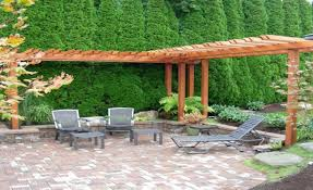 pergola awesome spanish backyard garden idea with pergola and