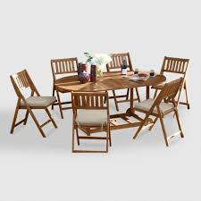 Folding Dining Table And Chairs Set Oval Wood Lira 7 Piece Folding Dining Set World Market