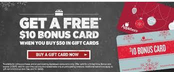 applebee gift card applebees free 10 bonus gift card when you buy 50 in gift cards