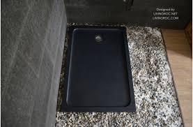 54 x 34 black shower pan solid granite spacium shadow